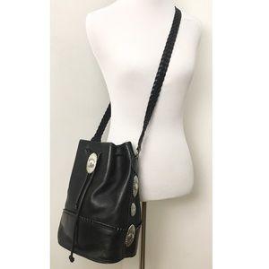 Vintage Western Concho Leather Bucket Bag